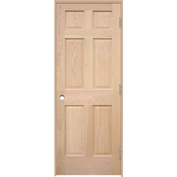 ReliaBilt 36-in x 80-in Brown/Unfinished 6-Panel Unfinished Oak Wood Left Hand Inswing Single Prehung Interior Door