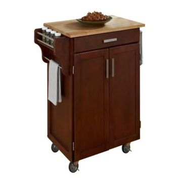 Home Styles Cuisine Cart Cherry Finish with Wood Top