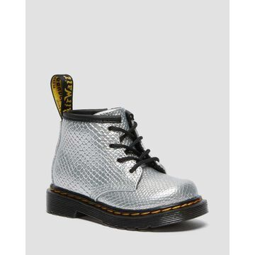 Dr. Martens, Infant 1460 Reptile Emboss Lace Up Boots in Silver, Size M 6/F 7