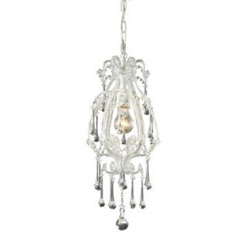 ELK Lighting Opulence 1-Light Pendant in Antique White/Clear Crystals