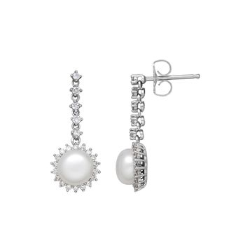 Certified Sofia Bridal Cultured Freshwater Pearl & Certified Sofia Cubic Zirconia Earrings