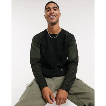 Religion contrast sleeve sweater in green/black