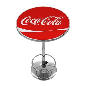 Trademark Gameroom Pub Tables Red Round Bar Table, Composite with Metal Base | COKE-2000-DR