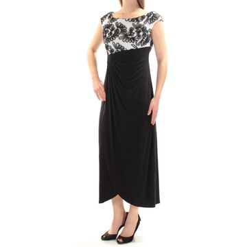 CONNECTED APPAREL Womens Black Embellished Pleated Cap Sleeve Jewel Neck Below The Knee Formal Dress Petites Size: 4