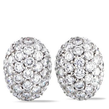 Roberto Coin White Gold Diamond Pave Oval Push Back Earrings