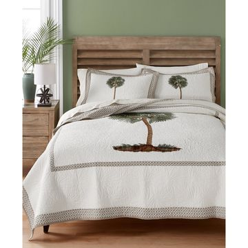 Lone Palm Cotton Embroidered King Quilt, Created for Macy's