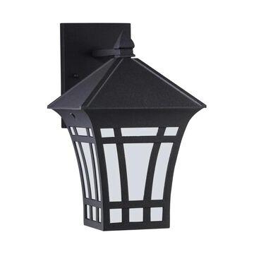 Sea Gull Lighting Herrington Medium 1-Light Black Outdoor 11.75 in. Wall Mount Lantern | 89132-12