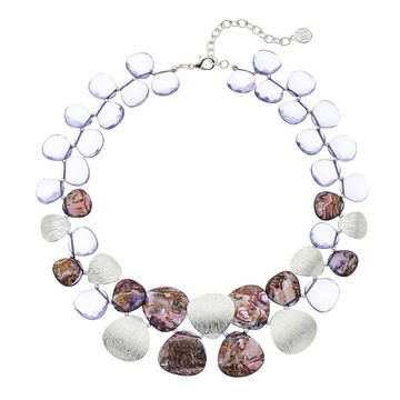 Women's Dana Buchman Silver/Purple Abalone Collar Necklace
