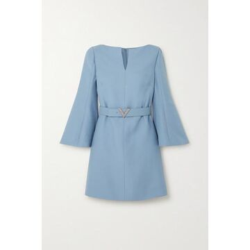 Valentino - Crystal-embellished Belted Wool And Silk-blend Crepe Mini Dress - Blue