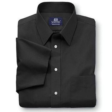 Stafford Mens Short Sleeve Travel Easy-Care Broadcloth Stretch Big and Tall Dress Shirt No Color Family