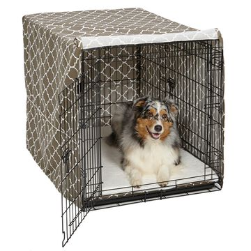 Midwest Quiet Time Defender Brown Crate Cover for Dogs