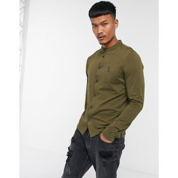 Religion grandad collar jersey shirt in khaki-Green