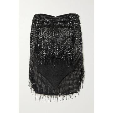 TALBOT RUNHOF - Tadashi Cape-effect Sequin-embellished Glittered Stretch-knit Bodysuit - Black