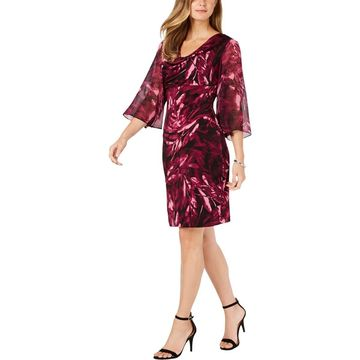 Connected Apparel Womens Cocktail Printed Sheath Dress