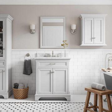 allen + roth Roveland 30-in Light Gray Undermount Single Sink Bathroom Vanity with Natural Carrara Marble Top   2026VA-30-242-900
