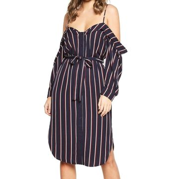Bardot Women's Striped Cold-Shoulder Shirt Dress
