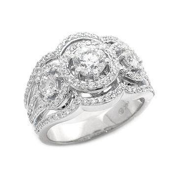 14kt White Gold 1-5-6 ct Round Diamonds Women's 3 stone Ring by Beverly Hills Charm - White H-I