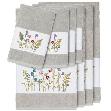 Authentic Hotel and Spa Grey Turkish Cotton Wildflowers Embroidered 8 piece Towel Set