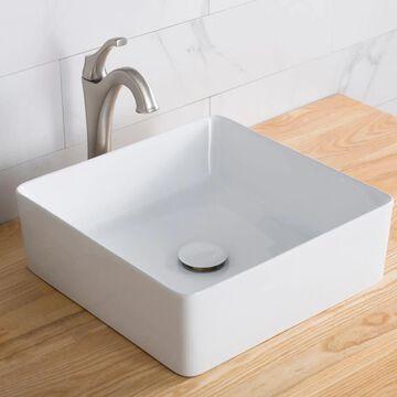 Kraus Viva White Ceramic Vessel Square Bathroom Sink (15.55-in x 15.55-in) | KCV-202GWH