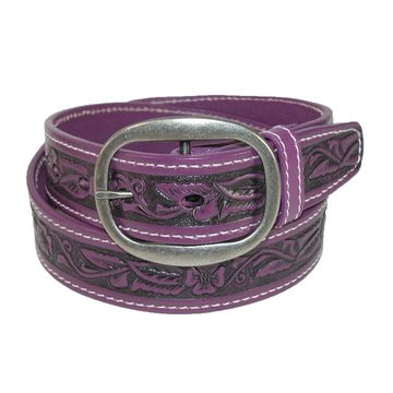 CTM Leather Western Embossed Belt with Removable Buckle