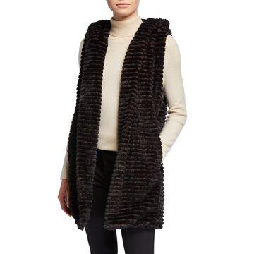 Ribbed Faux-Fur Hooded Vest