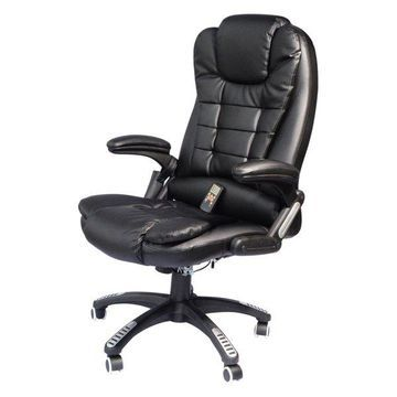 HomCom Faux Leather High Back Executive Heated Massage Office Chair, Black