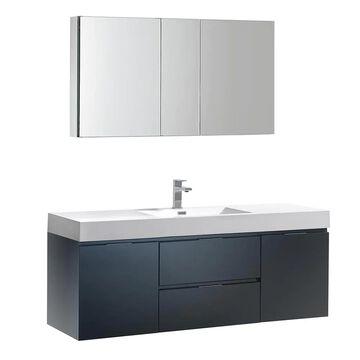 Fresca Bari 60-in Espresso Undermount Double Sink Bathroom Vanity with White Quartz Top (Mirror and Faucet Included) in Brown | FVN20-3030ES