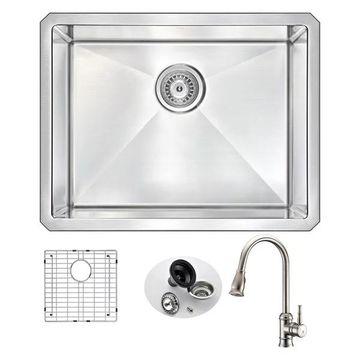 ANZZI Vanguard Undermount 23 In. Single Bowl Kitchen Sink w/ Sails Fau