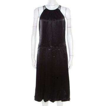 Vera Wang Black Embellished Satin Bod Detail Sleeveless Dress M