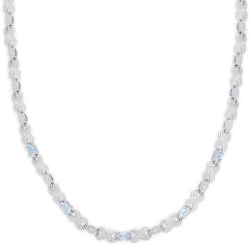 Dolce Giavonna Silver Overlay Blue Topaz XO Necklace