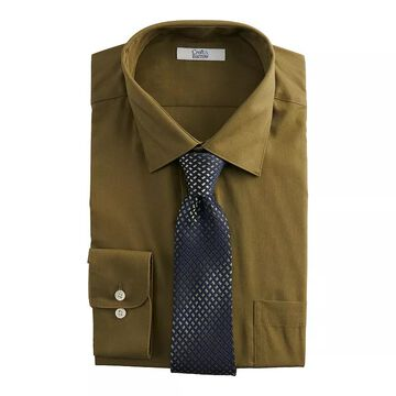 Men's Croft & Barrow Classic-Fit Stretch-Collar Dress Shirt and Patterned Tie Boxed Set, Size: Small 32-33, Dark Green