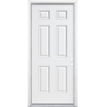 Masonite 36-in x 80-in Steel Left-Hand Inswing Primed Prehung Single Front Door with Brickmould in White   740789