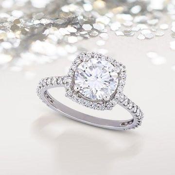 Moissanite by Miadora 10k White Gold Moissanite Halo Engagement Ring