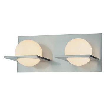 Orbit 2 Light Vanity, Chrome And White Opal Glass
