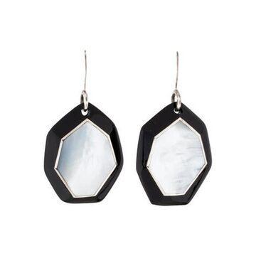Mother of Pearl & Resin Drop Earrings Black