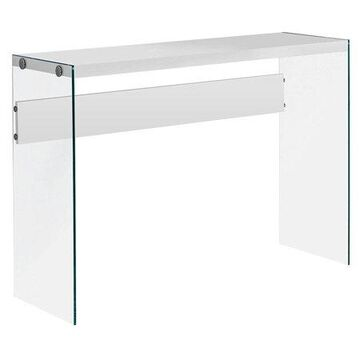 Monarch Console Table Glossy White With Tempered Glass