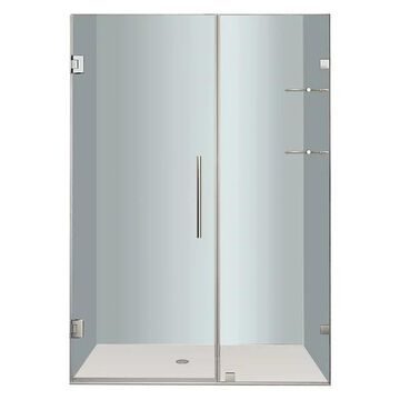 Aston Nautis GS Frameless Hinged Shower Door, Stainless Steel, 45
