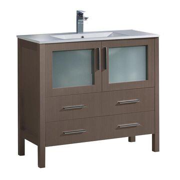 Fresca Bari 36-in Gray Oak Single Sink Bathroom Vanity with White Ceramic Top