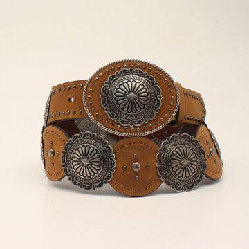 N320001344-XL 1.50 in. Medium Brown Distressed Conchos Single Leather Ladies Belt, Medium Brown Distressed - Extra Large