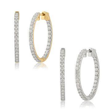 Divina 14K Gold 1 1/2ct TDW Round-cut Diamond Inside-out Hoop Earrings