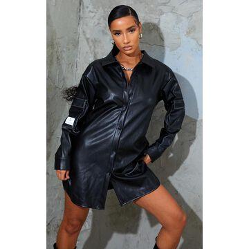 PrettyLittleThingBadge Black Faux Leather Contrast Stitch Shirt Dress