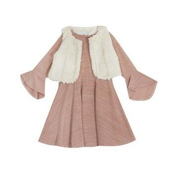 Rare Editions Big Girl Sweater Knit Dress With Faux Fur Vest