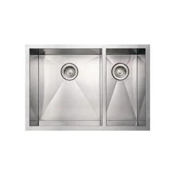 Whitehaus WHNCMD2920 Commercial Double Bowl Undermount Sink - Brushed Stainless Steel (Brushed Stainless Steel)