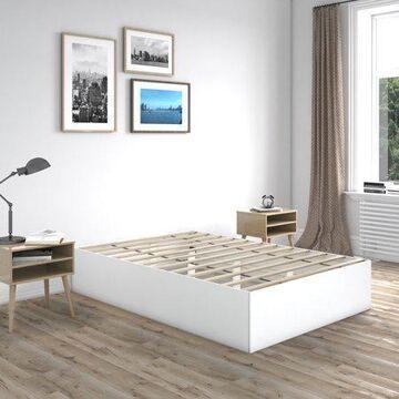 Premier Beckett Modern Platform Bed Frame Base, Queen, White