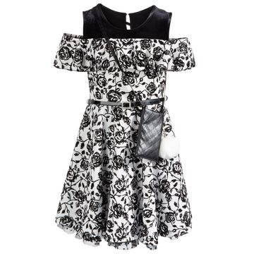 Big Girls 2-Pc. Belted Floral Cold-Shoulder Dress & Charm Purse Set