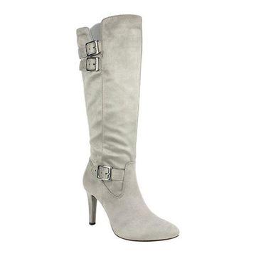 Rialto Women's Cahoon Knee High Boot Light Grey Suedette Fabric