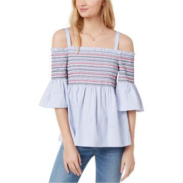 maison Jules Womens Smocked Off the Shoulder Blouse