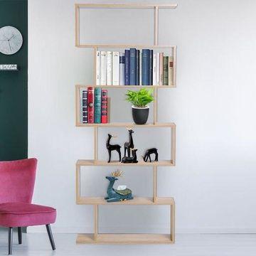 ''75'''' 6 Tier Wooden Modern S-Shaped Shelf Unit Storage Display Bookcase Oak''