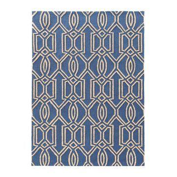 Linon Trio Art Deco Pattern Rug, Blue, 5X7