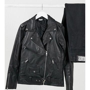 Reclaimed Vintage inspired oversized leather biker jacket-Black